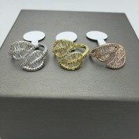 Moda accesorios de moda cubic zirconia hoja pluma en forma de T de piedra diseño anel anillo Ajustable abierto para las mujeres joyería del partido
