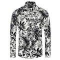 Мужская рубашка 2016 мода Camisas с длинными рукавами персонализированные печать Camisetas новый бренд сорочка Homme мужчины тонкий Masculina 3XL