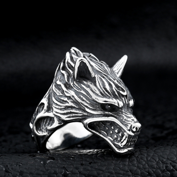 Beier 316L acier inoxydable nez viking loup tête animal pour homme Unique prix de gros bijoux LR160 8
