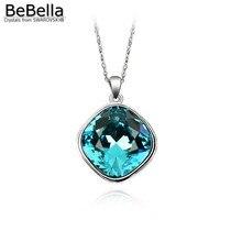 BeBella Подушка квадратное ожерелье с кристаллами от Swarovski модные украшения для женщин девочек Рождественский подарок на день рождения