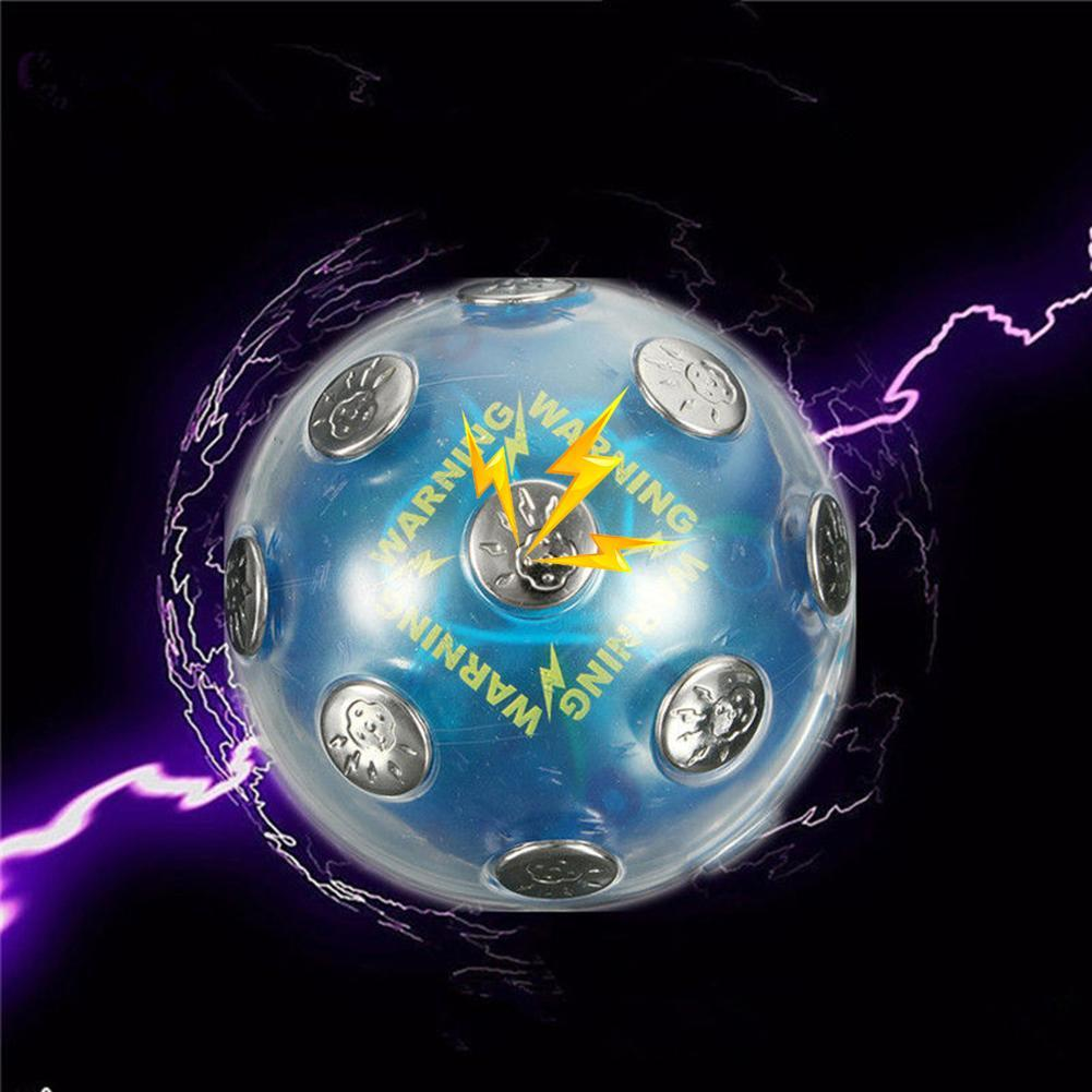 ABS & Metal Electric Shocking Ball Novelty Toy X'mas Party Game Shock Glowing Ball Stress Relief Blue Auto Off Function For