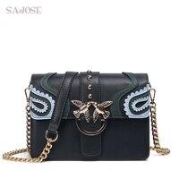 SAJOSE 2017 Female Brand Hand Bag Woman Messenger Bags Lady Rivet Chain Women Fashion Leather Shoulder