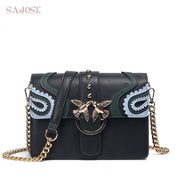 SAJOSE 2017 Female Brand Hand Bag Woman Messenger Bags Lady Rivet Chain Women Fashion Leather Shoulder