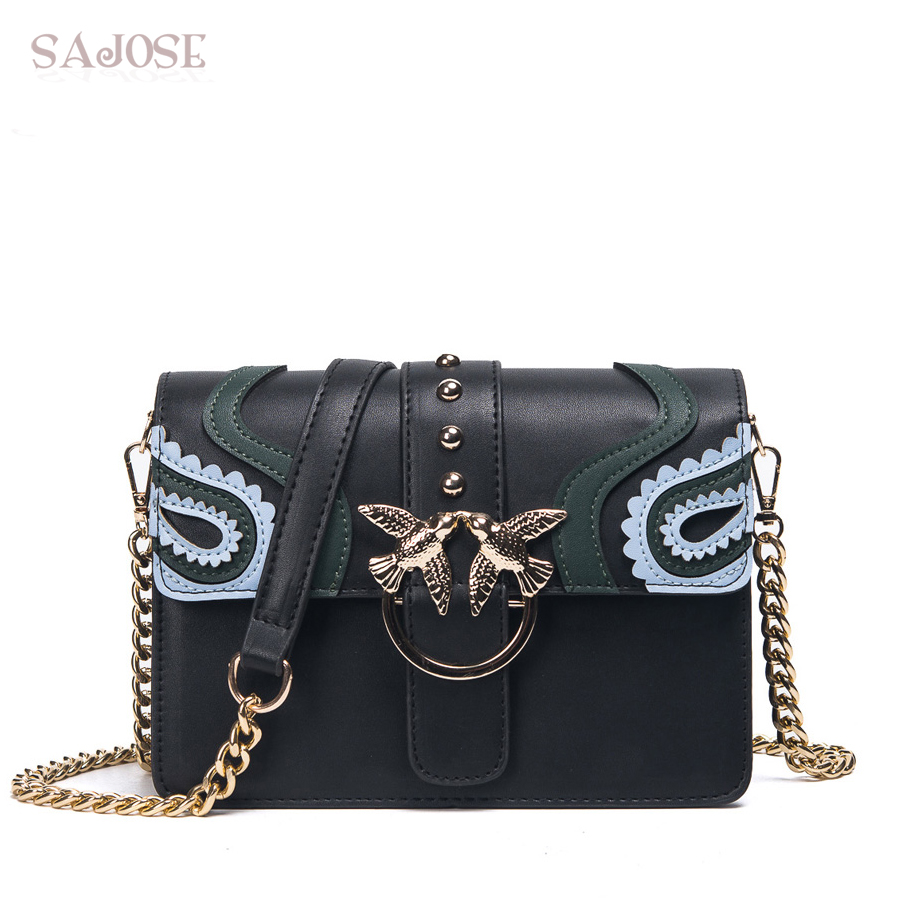 SAJOSE 2017 Female Brand Hand Bag Woman Messenger Bags Lady Rivet chain Women Fashion Leather Shoulder Bag Girl Crossbody Bags 2016 women fashion brand leather bag female drawstring bucket shoulder crossbody handbag lady messenger bags clutch dollar price