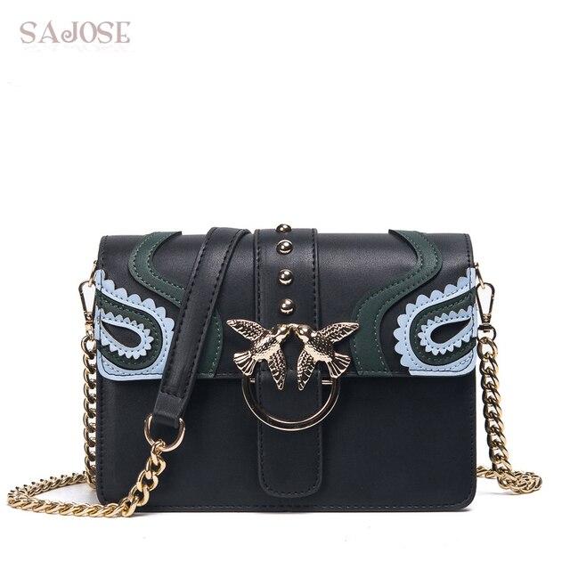SAJOSE 2017 Female Brand Hand Bag Woman Messenger Bags Lady Rivet chain Women Fashion Leather Shoulder Bag Girl Crossbody Bags