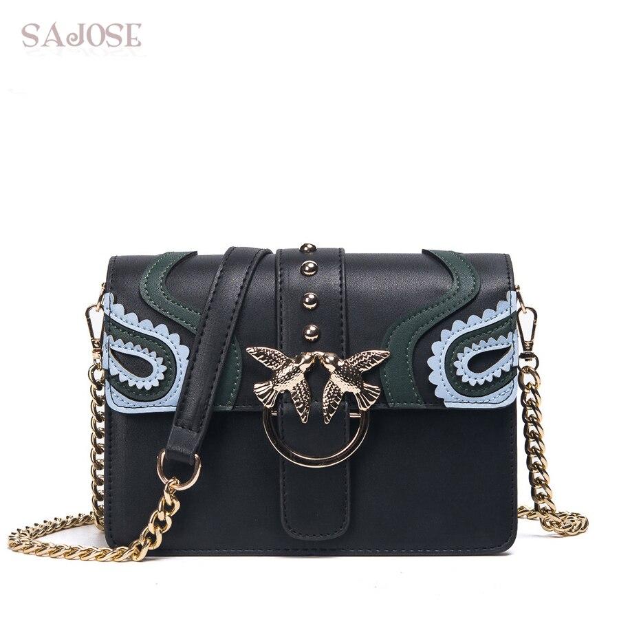 SAJOSE 2018 женская брендовая сумка-мессенджер женская сумка с заклепками Женская модная кожаная сумка через плечо для девочек