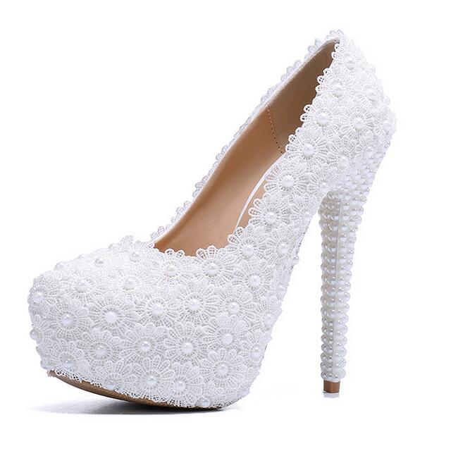 Ayakk.'ten Yüksek Topuklular'de 2019 Kadın Ayakkabı Düğün Gelin Platformu Yüksek Topuk Fildişi Beyaz Kristal Peep toe Gelin Nedime bayanlar Balo Pompaları'da  Grup 1