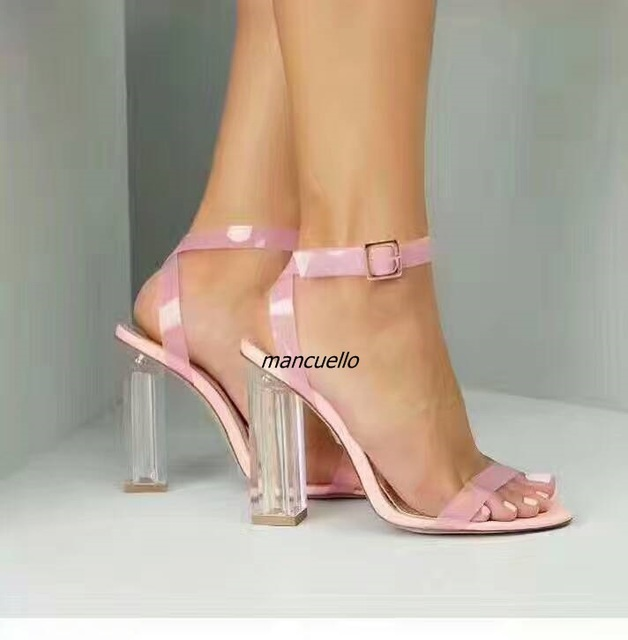 85147717e96 Trend Simply Line Buckle Style Pink Block Heel Sandals Classy Women Open  Toe Clear Chunky High Heel Dress Sandals Hot Selling