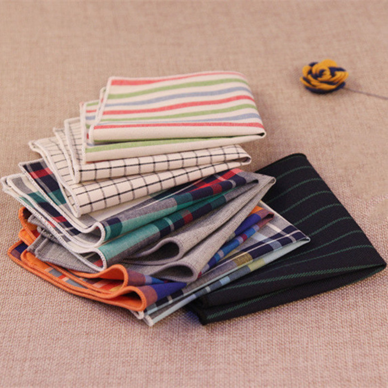 2017 Fashion Casual 100% Cotton Handkerchiefs Woven Striped/Plaid Pocket Square Wedding Party Handkerchief Towel Hanky 24cm*24cm