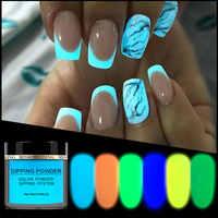 Nouveau 1 boîte néon phosphore trempage poudre lumineuse Nail Art décorations fluorescentes paillettes lueur Pigment poussière UV Gel vernis conception