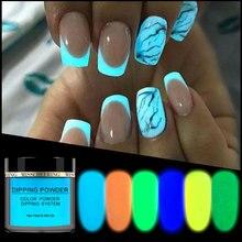ใหม่ 1 กล่องNeon Phosphor Dipping Powder Luminous Nail Artตกแต่งเรืองแสงGlitter GLOW Pigmentฝุ่นUV GEL Design
