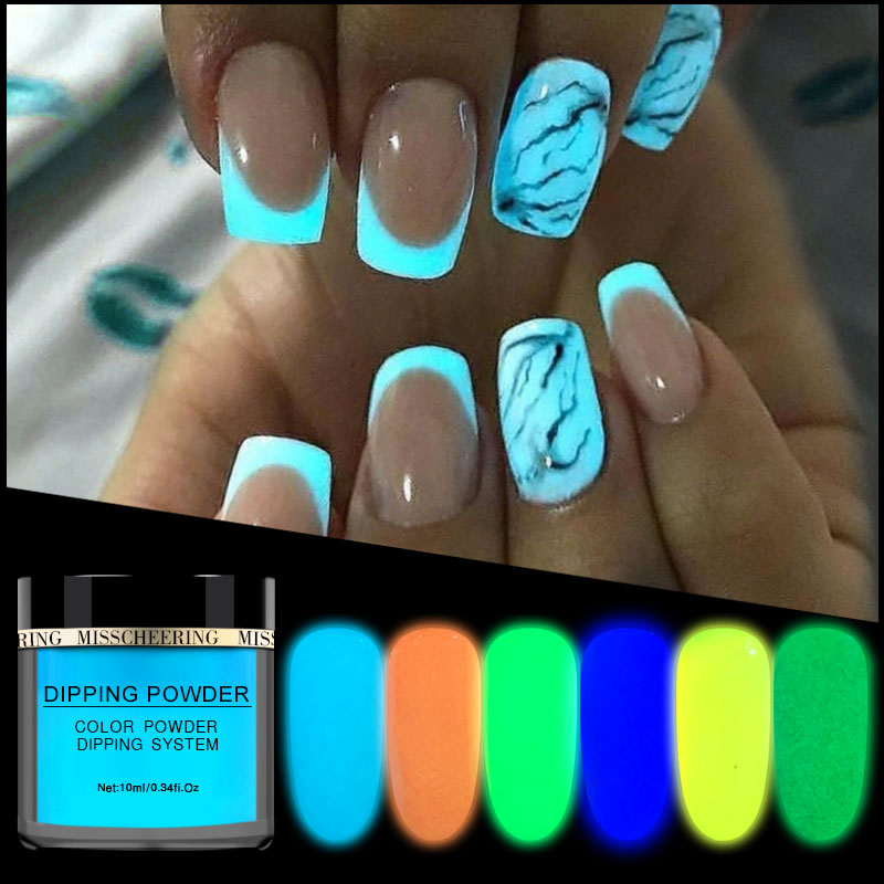 New 1box Neon Phosphor Dipping Powder Luminous Nail Art Decorations Fluorescent Glitter Glow Pigment Dust UV Gel Polish Design-in Nail Glitter from Beauty & Health