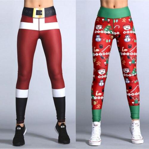 fcc09d1ed60a28 2017 Hot Women's Christmas Leggings cartoon Santa Claus pattern Cute xmas  women costume leggings