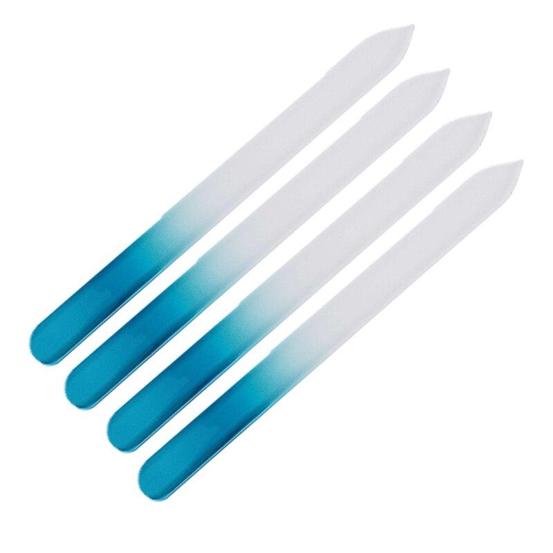 Пилки для ногтей ROSALIND Blue, 4 шт./лот, прочная пилка из хрустального стекла, высококачественные буферные инструменты для маникюра, устройство д...