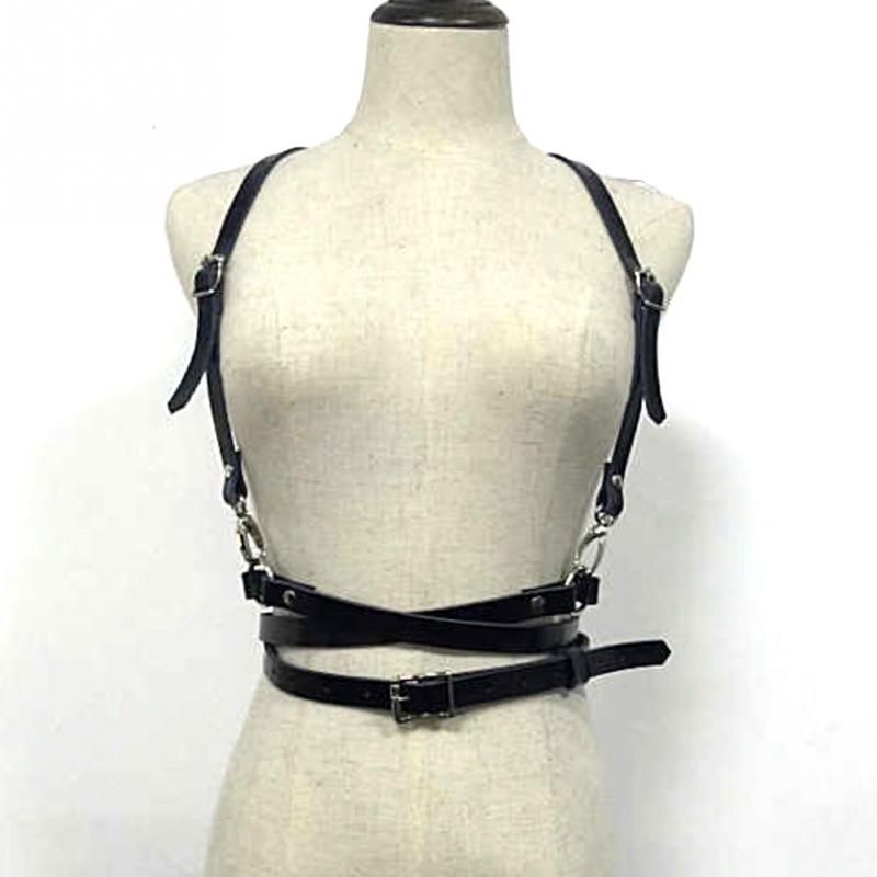 Pop Fashion Punk Harajuku O-Ring Garters Faux Leather Body Bondage Cage Sculpting Harness Waist Belt Straps Suspenders Belt #63
