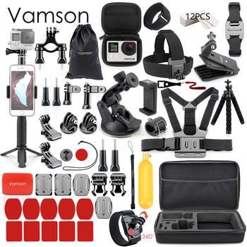 Vamson for Gopro Accessories Set for go pro hero 8 7 6 5 4 kit 3 way selfie stick for Eken h8r / for xiaomi for yi EVA case VS77 10
