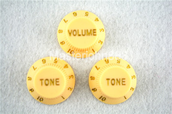 цена на 1 Set of Electric Guitar Control Knobs 1 Volume&2 Tone Knobs For ST SQ Electric Guitar Cream