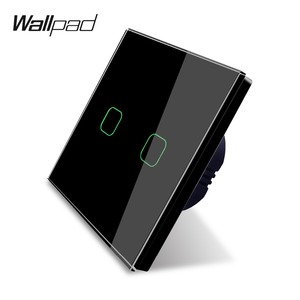 Image 2 - Wallpad K3 Capacitive 2 Gang LED Touch Dimmer Switch 4 Colors Tempered Glass Panel Wall Electrical Light Double Switch for UK EU