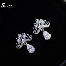 Luxury Wedding 925 Sterling Silver Fine Jewelry Earrings Crown Water Drop Cubic Zirconia Stud Earrings For Women Pendientes E127