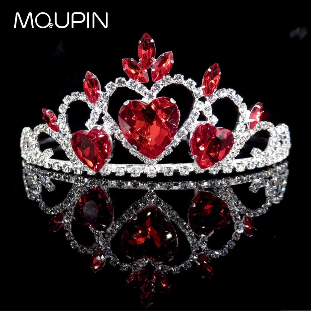 MQUPIN Red Luxury Wedding Bridal Crystal Simple heart Princess Queen Rhinestone Tiaras Headband Wedding hairwear accessories