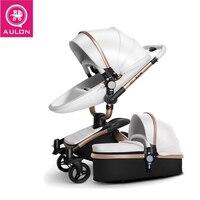 AULON детская коляска 2 В 1 роскошная коляска роскошная коляска Эко кожа Россия Бесплатная доставка