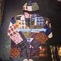 2017 Новейших Джастин Бибер Лоскутное Куртка Мужчины женщины Куртки 16SS хип-хоп Восстановление древних сетки цветы пальто Куртки M-XL
