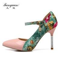 Fanyuan מעורבים אלגנטיים עור פטנטים פרח עיפרון גבירותיי עקב משאבות נעלי מועדון עקבים סופר גבוהים סקסי פגיון בוהן מחודד ילדה