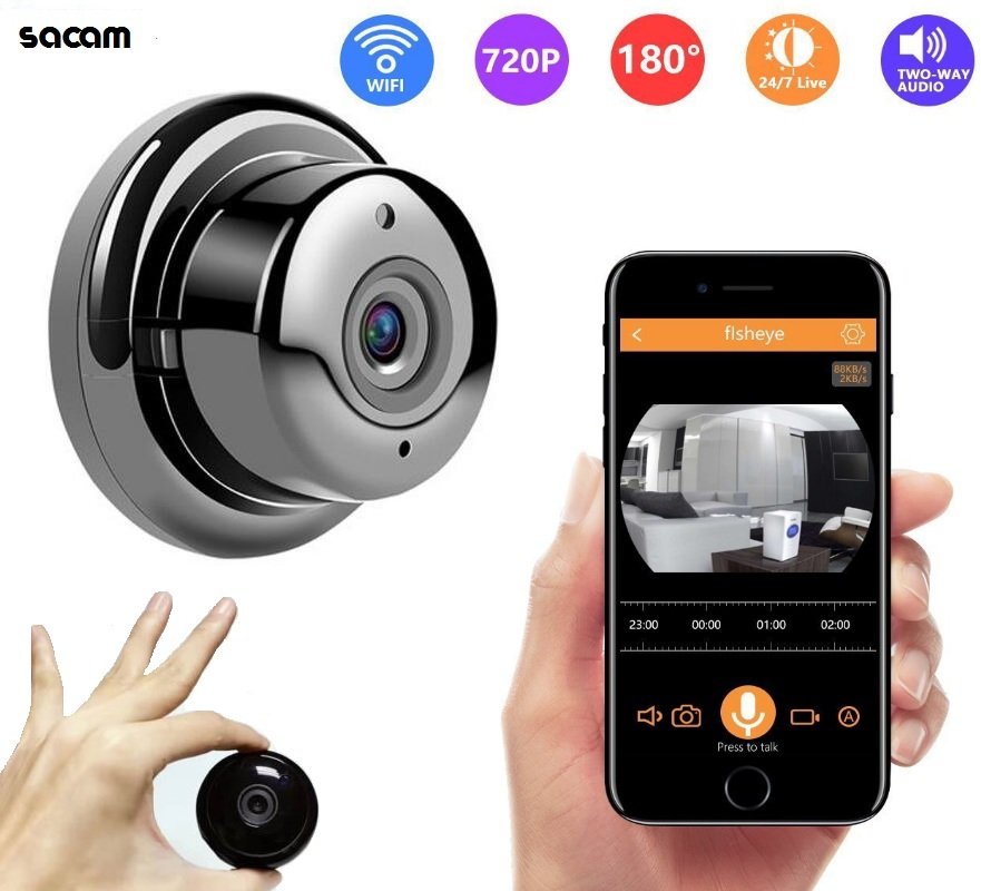 Best Mini WiFi Camera 2018 Fish-eye Home Security Camera HD 720P Mini Webcam Wireless Baby Nanny Camera Night Vision with Audio