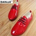 Лакированной Кожи Красного Цвета Женщин Плоские Туфли Плюс Размер Новые Случайные зашнуровать Конфеты Цвета Студент Обувь Супер Мягкие Женщины Плоские Туфли