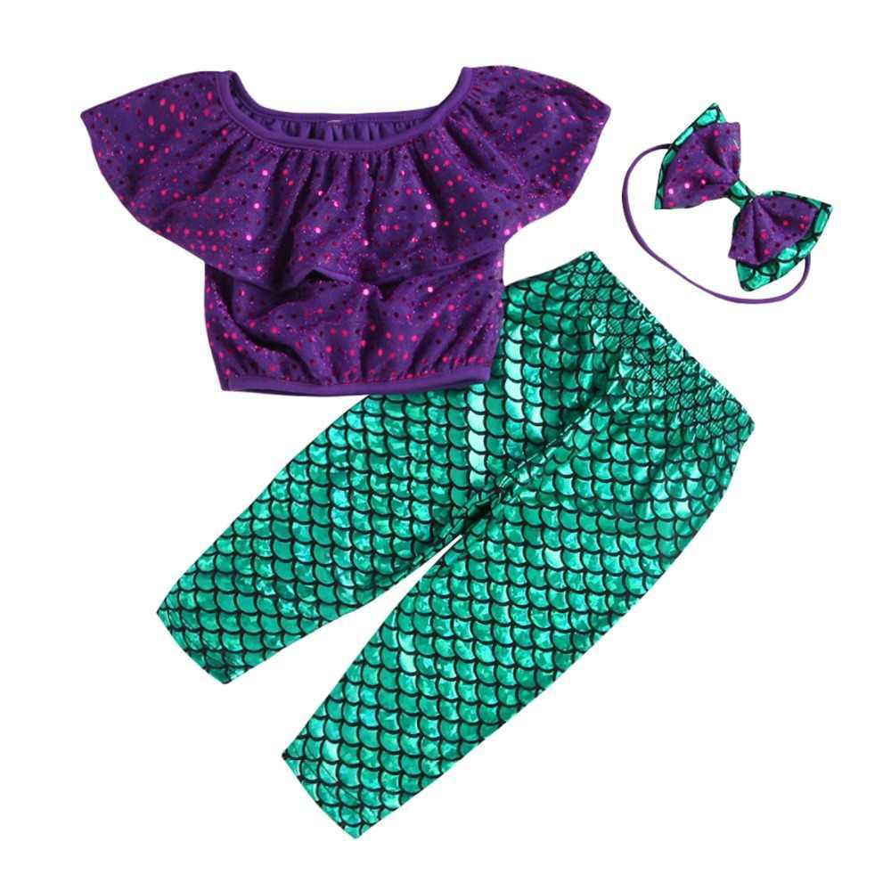 Bebek Kız Mermaid Giyim Seti Rahat Çocuk Kız Kapalı omuz Ruffles Mahsul Tops Uzun Pantolon 3 Adet Kıyafetler Çocuk giyim 1-6Y