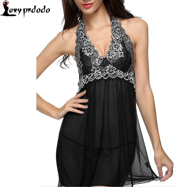 be0a8fdd70 Nightwear Tempting Mini Chemise Dress Women Sleepwear Black Lace Patchwork  Halter Neck Dress Lingerie Sexy Hot