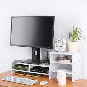 Image 2 - Beschermen Wervelkolom En Hals Computer Laptop Monitor Riser Stand Desktop Met Organizer Houten Computer Bureau