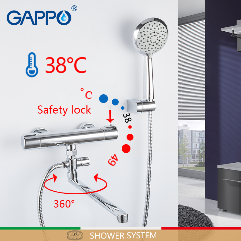 GAPPO Shower System wall thermostat shower set mitigeur baignoire thermostatic mixer shower waterfall shower faucets            GAPPO Shower System wall thermostat shower set mitigeur baignoire thermostatic mixer shower waterfall shower faucets