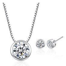 Pink CZ Zircon Stone Silver Jewelry Set for Women Wedding Engagement Choker Necklace Stud Earrings Fashion