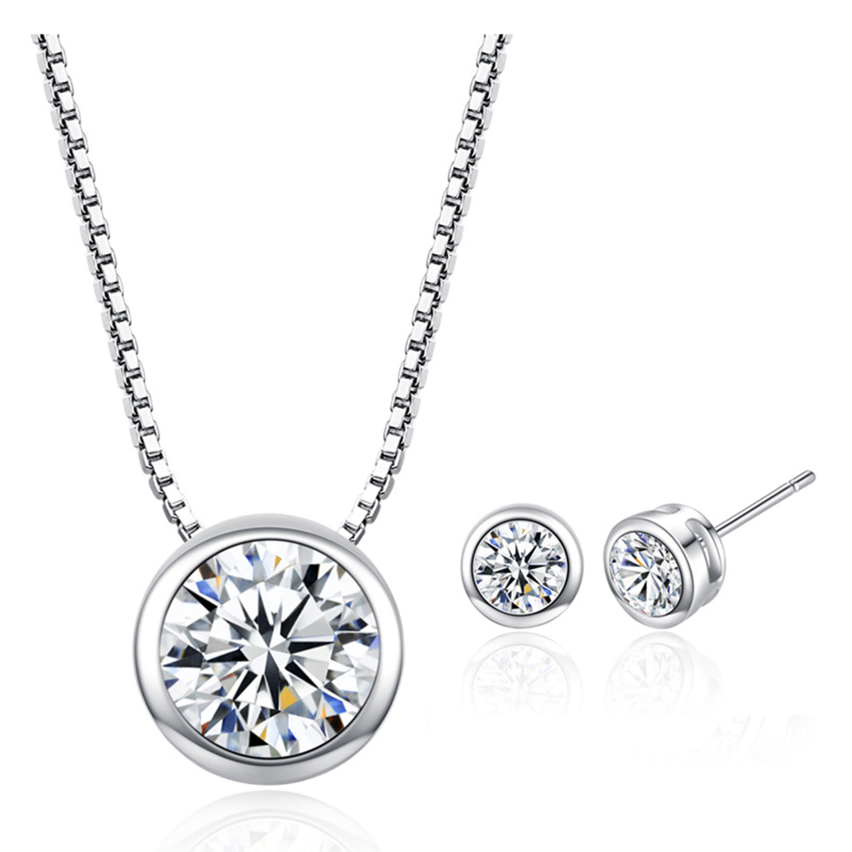 Pink CZ Zircon Stone Silver Jewelry Set for Women Wedding Engagement Choker Necklace Stud Earrings font