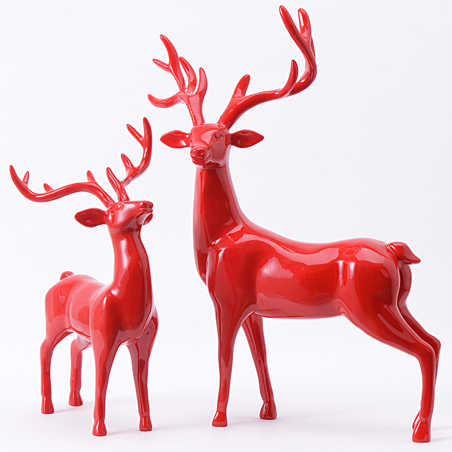 Resin for arts and crafts - New Handmade Colorful 2 Pcs Lot Creative Resin Deer Figurine Ornaments Modern Home Decorations Poly Resin