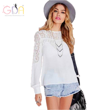 GDA. 2016 Women Fashion Casual Elegant Blouses Loose Solid White Lace Hollow Out Office Work Tops Blusas Long Sleeve Shirts F