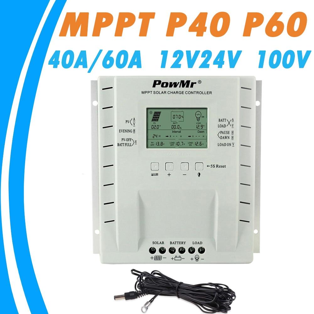 PowMr MPPT 40A 60A 12 V 24 V Regolatore di Carica Solare per Max 100 V Solare di Ingresso del Pannello con Dual USB 5 V di Uscita Regolatore Solare Più Nuovo