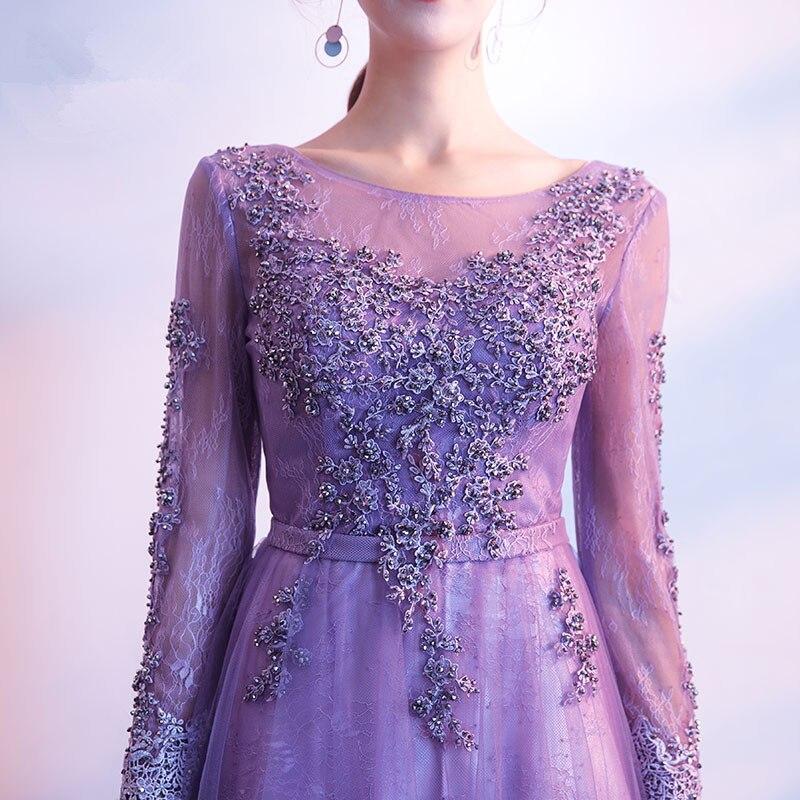 Paars prom dresses 2018 tule met kant geappliceerd a-lijn avondfeest - Jurken voor bijzondere gelegenheden - Foto 5