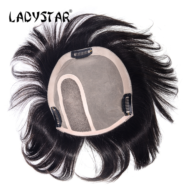 LADYSTAR Toupee Hair Replacemen Full Hand Made Brazilian Hair Pieces With Clip in Remy Human Hair Piece for White Women
