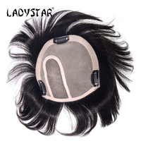 LADYSTAR Full Hand Made Brazilian Straight Hair Pieces With Clip In Remy Human Hair Piece For