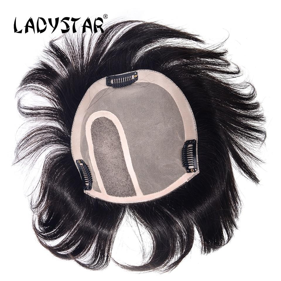 Motiviert Ladystar Toupet Haar Replacemen Volle Hand Gemacht Brasilianisches Haar Stück Mit Clip In Remy Menschenhaar Stück Für Weiße Frauen