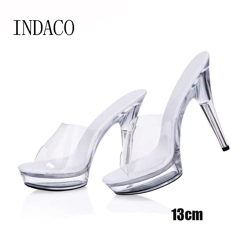 Transparent High Heels Platform Sandals Slipper Sexy Women Summer Shoes PVC Waterproof Jelly Shoes Slapping 13cm 15cm-in Slippers from Shoes    2