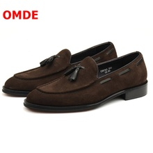 OMDE Autumn Winter New Style Tassel Men Shoes Handmade Slip On Leather Suede Loafers Stylish Business mens Dress