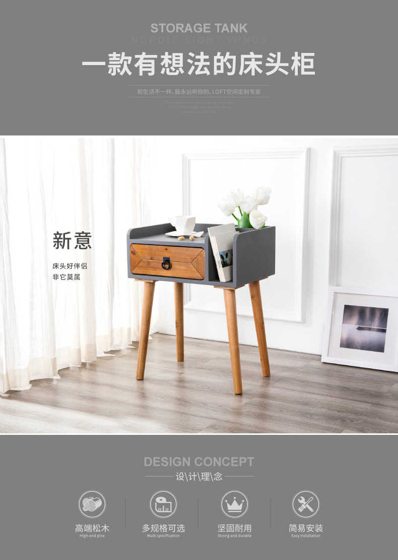 Us 175 63 15 Off 13kg Steady Pine Wood Drawer Cabinet Handle Storage Cabinet Stable Bedside Table Mdfsheet Aluminum Nightstand Easy Install In