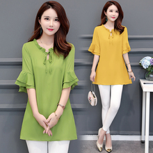 Women's Chiffon Shirt Summer 2019 New Fashion Lacing Ruffles Short-sleeve Pullovers Tops Loose Length Blouse Female Black Yellow цена