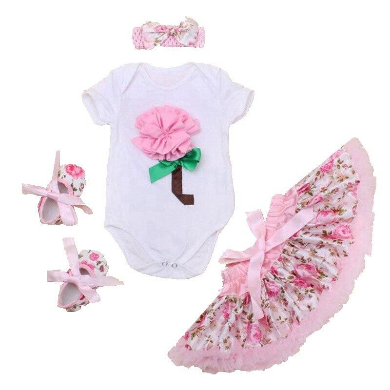 Pink 3D Flower Vetement Bebe Infantil Bodysuit Tutu Skirts Crib Shoes Headband 4PCS Baby Girls Clothing Sets Infant Kids Clothes