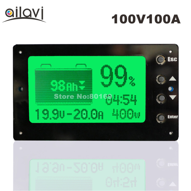 100V 100A Lead-acid Lithium Battery Capacity Tester Voltage Current Display Coulometer Coulomb Counter for RV цена