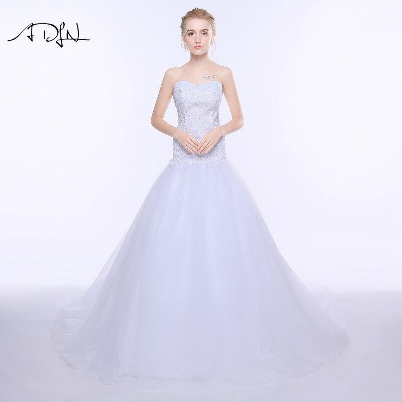 ADLN Corset Plus méretű hableány esküvői ruha vállnélküli ujjatlan tüll érvényesített gyöngyös menyasszonyi ruha Vestidos de Novia