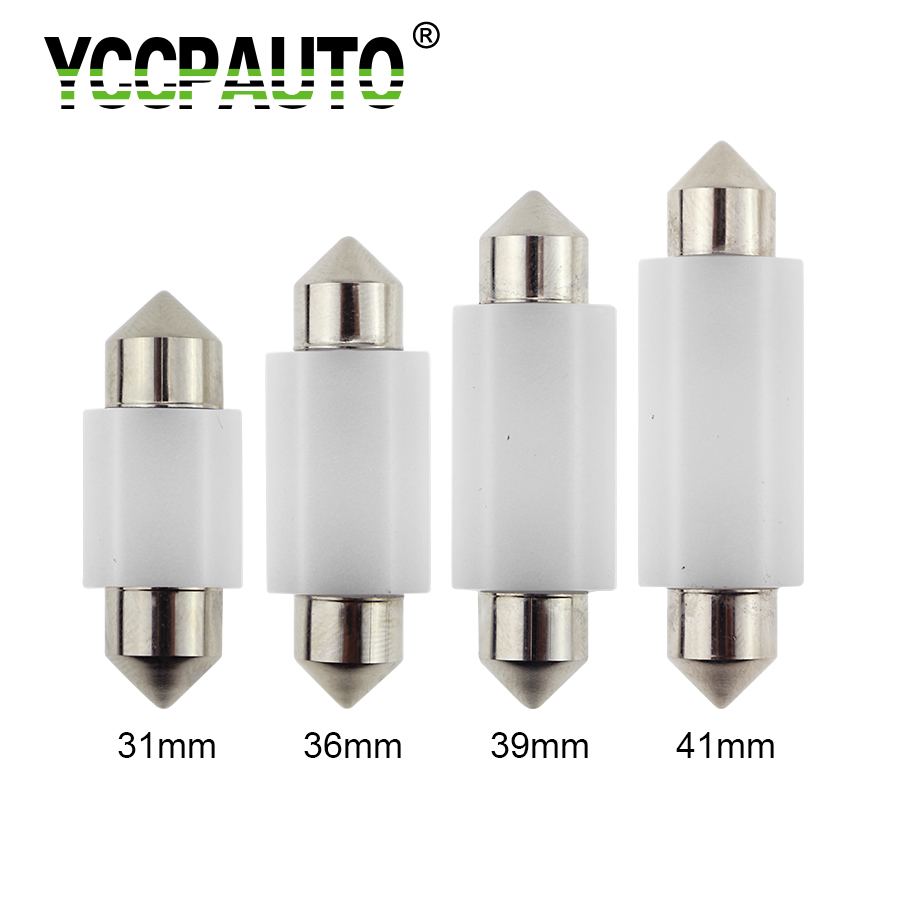 YCCPAUTO C5W C10W LED 31/36/39/41mm CANBUS Car Festoon Light Auto Interior License Plate Dome Lamp Reading Bulb White 12V 24V 10pcs lot led car light source c5w festoon 31 36 39 41mm auto interior bulb reading dome license plate lamp 12v white color